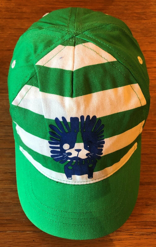 New Exstore Next Boys Summer Baseball Cap Green Stripe Lion 100% Cotton 12-24M