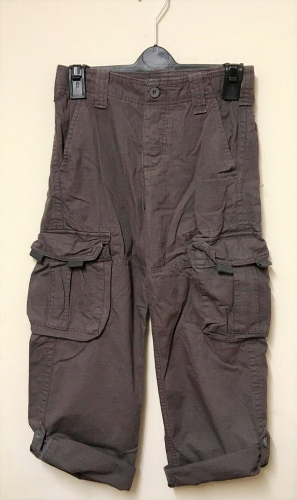 New Boys Brown Cotton Cargo Trousers Adjustable Waist - Exstore Matalan - Ages 3-9Yrs