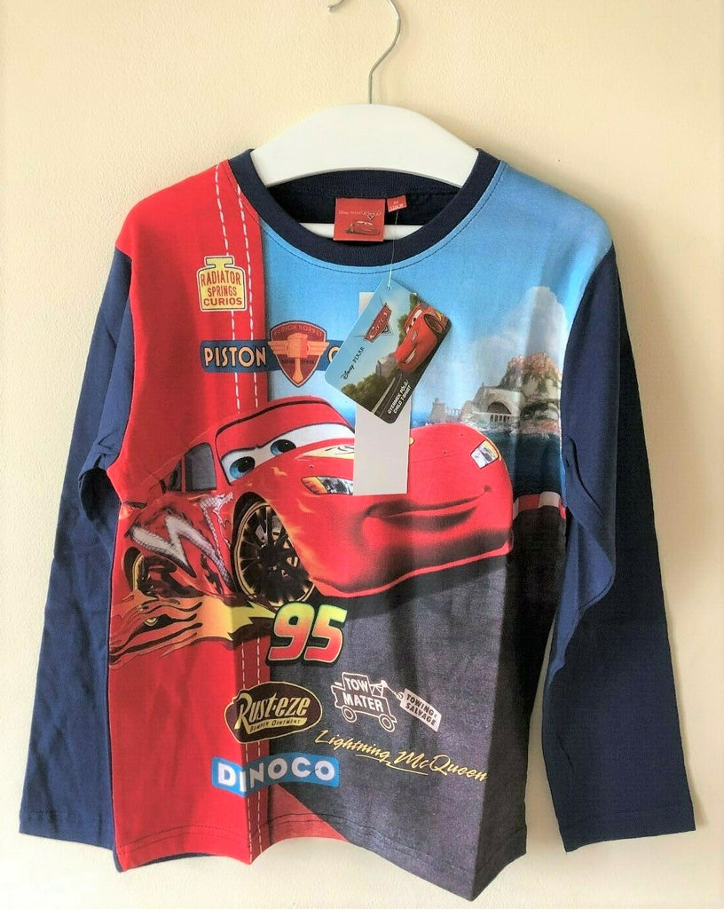 New Boys Disney Cars Long Sleeved Top -  Exstore Disney -100% Cotton Bagged - Boys Age 3-8 Years