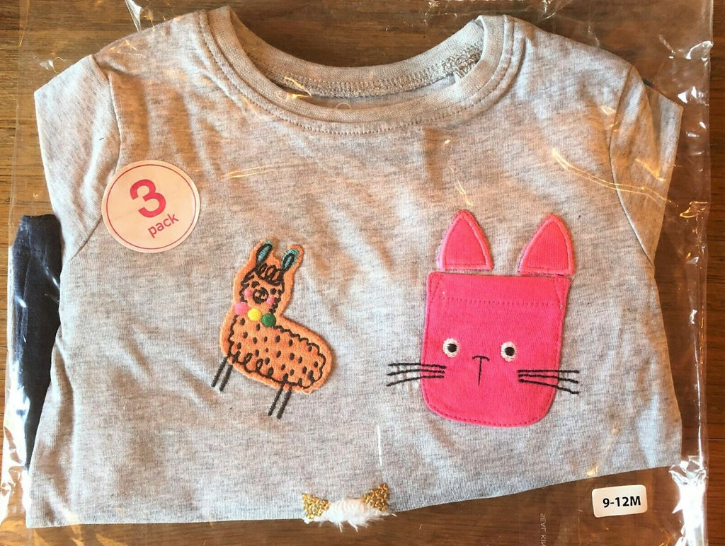 New Next Girls 3 Pack Long Sleeved Tops Set Cats & Llamas - Exstore Next - 100% Cotton - Ages 3-24 M