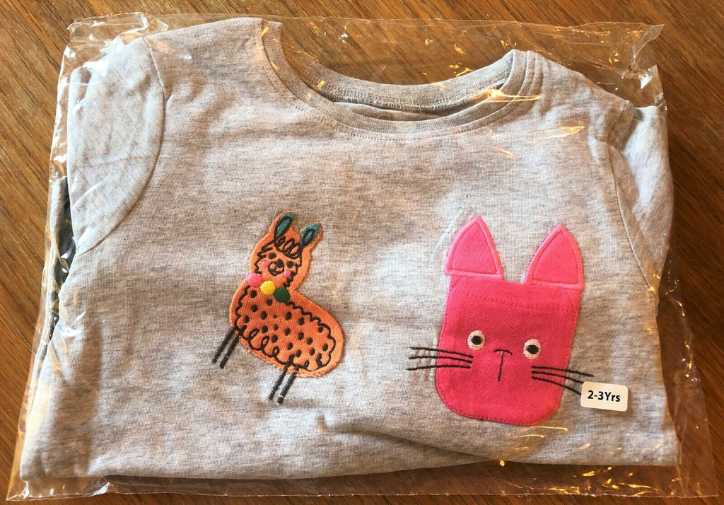 New Exstore Next Girls 3 Pack L/S Top Set Cats & Llamas 100% Cotton - Ages 2-4 Y