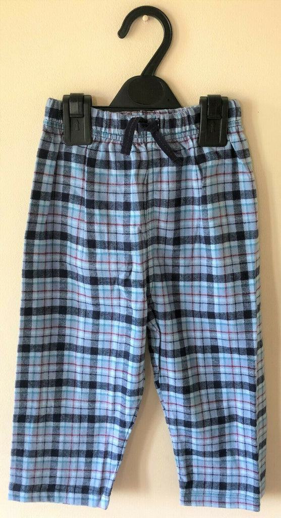 New Boys Blue Brushed Check Pyjama Bottoms - Exstore - 100% Cotton - Age 18-24M