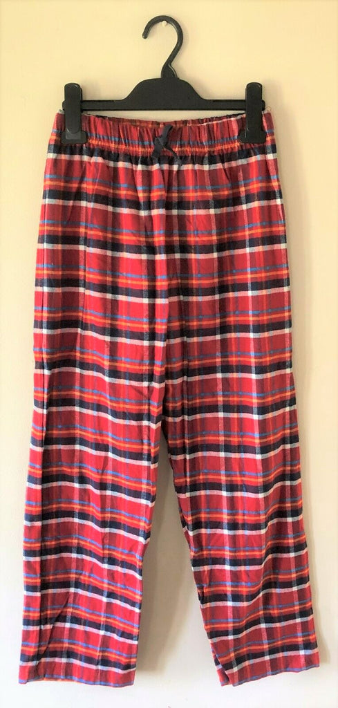 New Boys Red Flannel Check Pyjama Bottoms - Exstore - 100% Cotton Age 9-10 Y