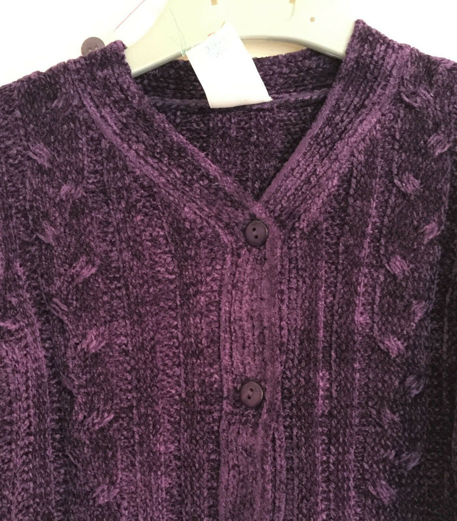 New Girls Christmas Purple Chenile Cardigan & Skirt Set- Exstore Adams - Age 3 Yrs