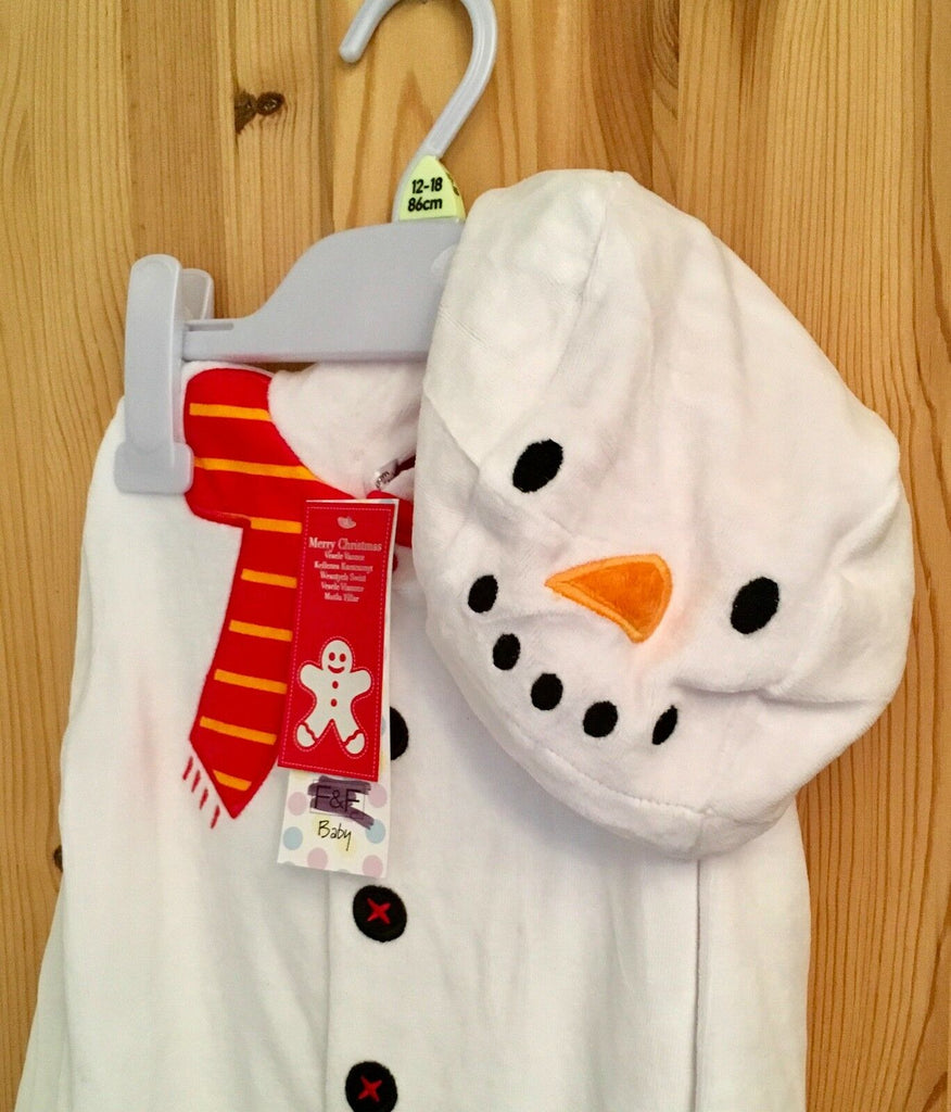 Baby Christmas Snowman Babygrow with Hood - New Exstore F&F Neutral Baby - Sizes 0-24 Months