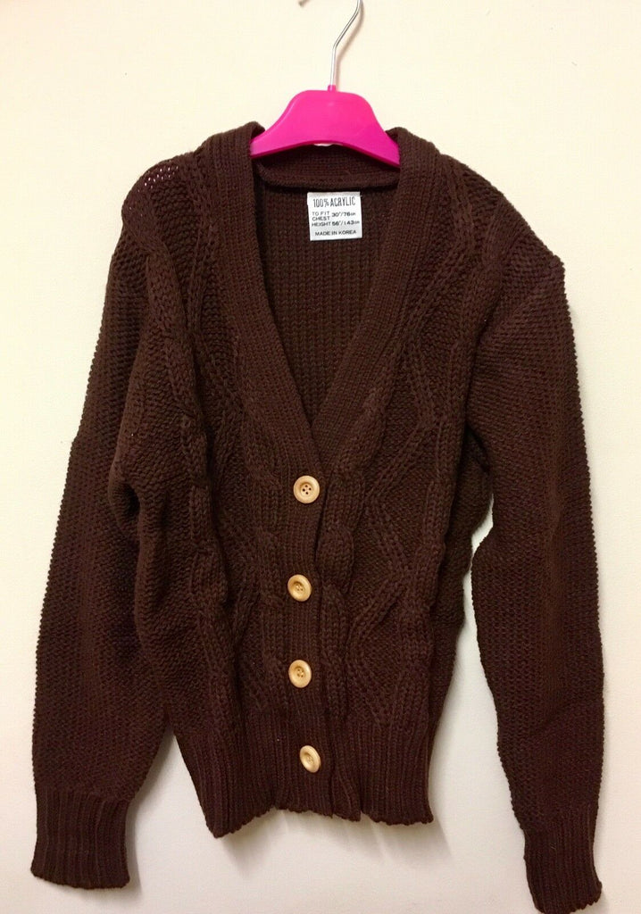 New Girls Ribbed Chunky Knit Cardigan Chocolate Brown - Exstore - Size 9 Yrs