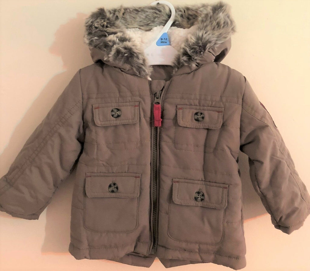 New Baby Boys Khaki Parka Jacket - Exstore Nutmeg Morrisons - Ages 3-12 Months