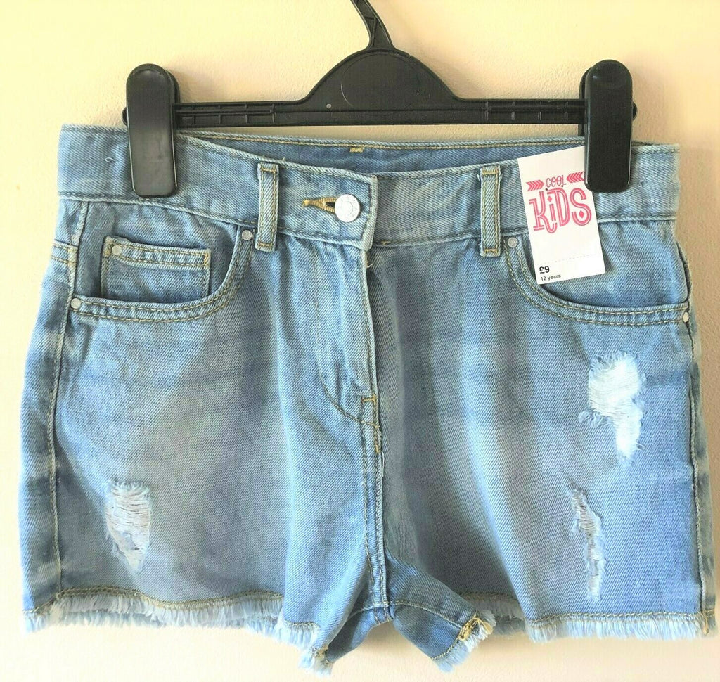 New Girls Light Blue Denim Shorts Adjustable Waist - Exstore Matalan Cool Kids - 100% Cotton - 12Yrs