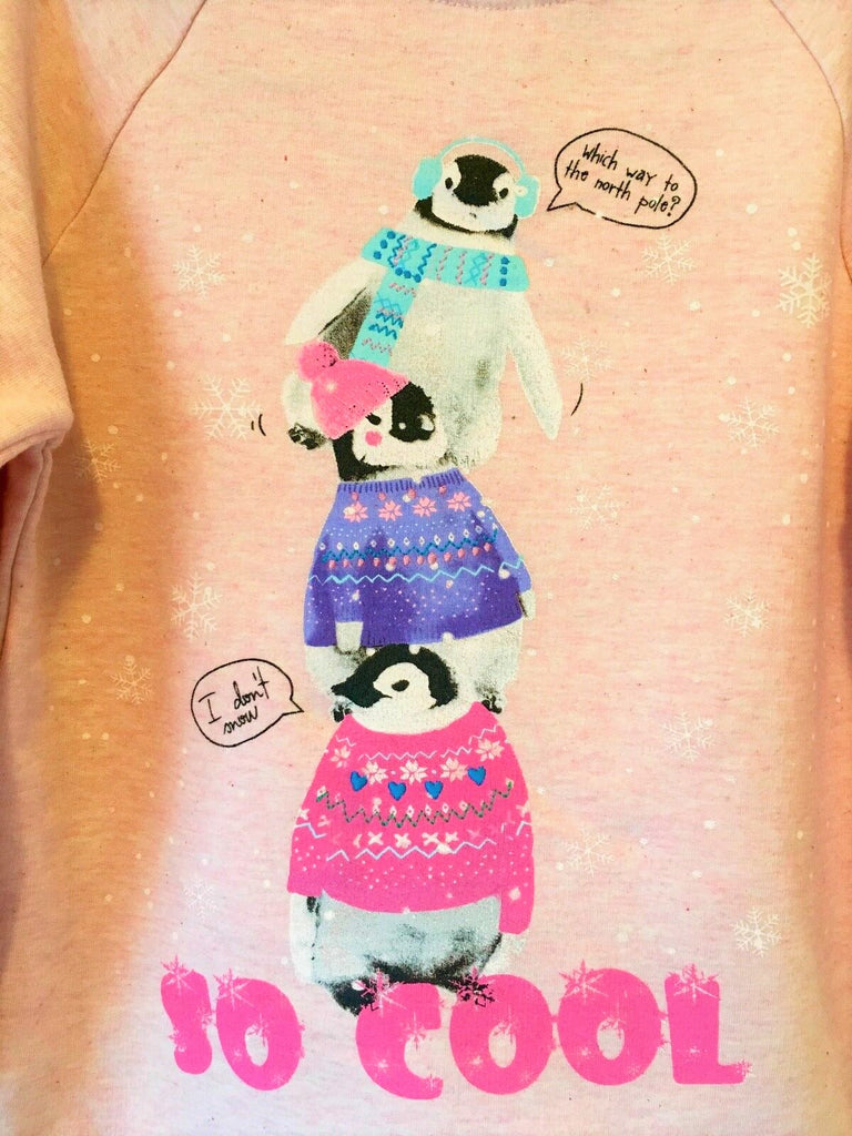 New Girls Christmas Sweatshirt Penguin So Cool - Exstore Morrisons Nutmeg - Ages 5-7 & 11-12 Y