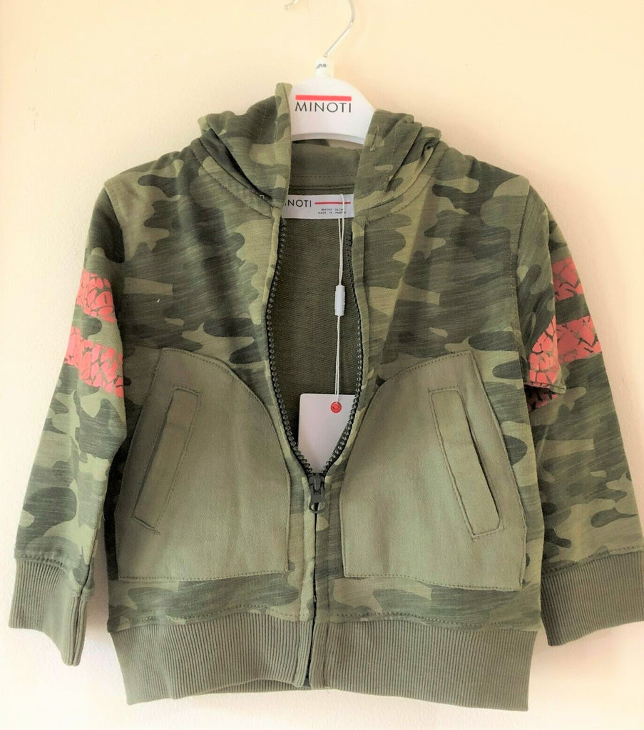 New Exstore Minoti Baby Boys  Camoflage Hoodie Olive Green - Exstore Minoti - Ages 12 & 18 Months
