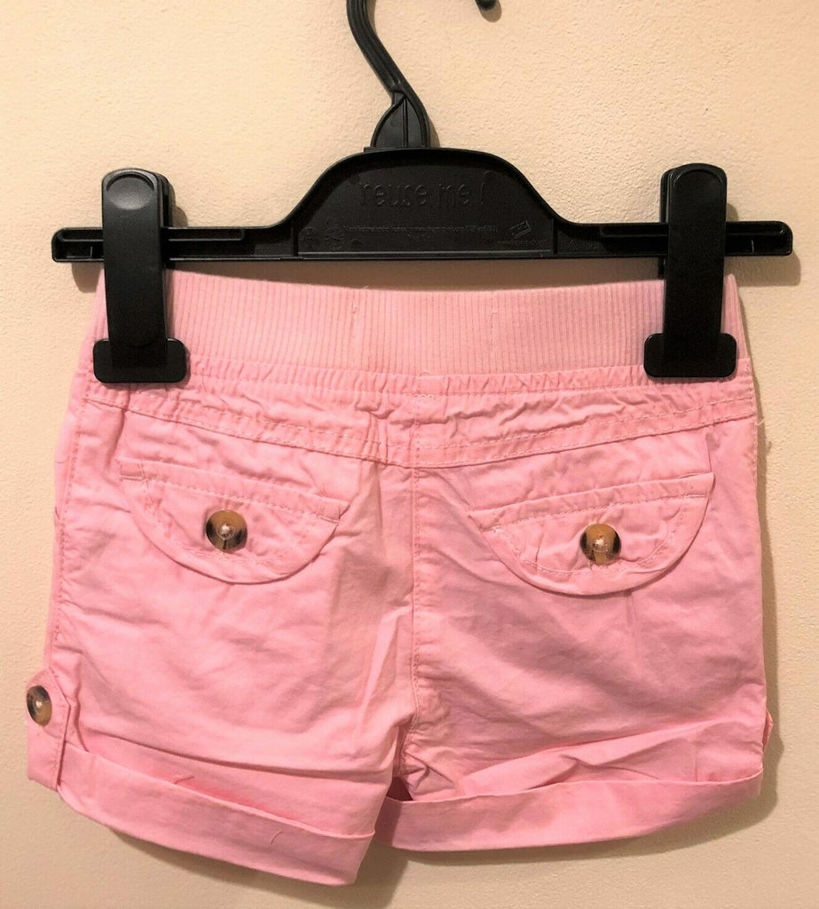 New Girls Jersey Shorts Turn Up Cuff - Pink 100% Cotton - Exstore Minoti - Ages 2 & 3Y