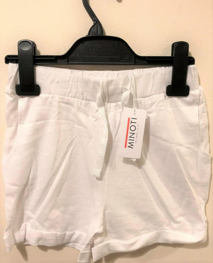 New Girls Jersey Shorts Turn Up Cuff - White 100% Cotton - Exstore Minoti - Ages 3-11Y