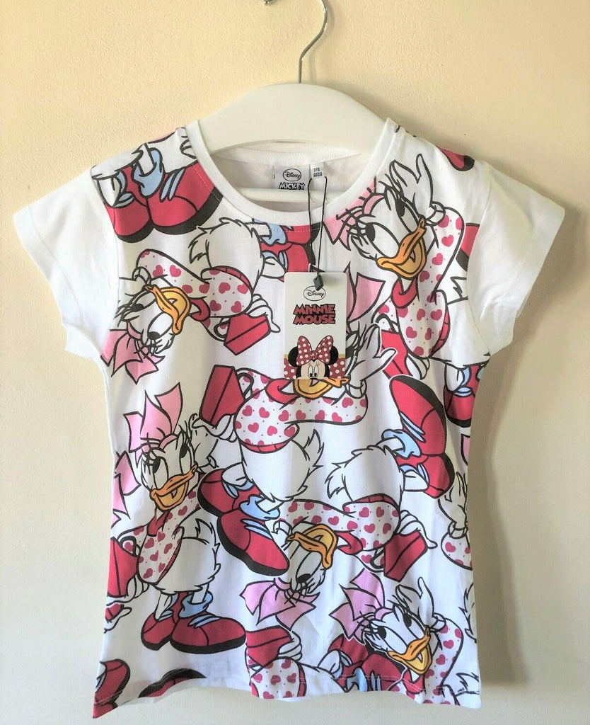 New Minnie Mouse & Daisy Duck Pink and White Tshirt -Exstore Disney - Ages 4-10 Yrs