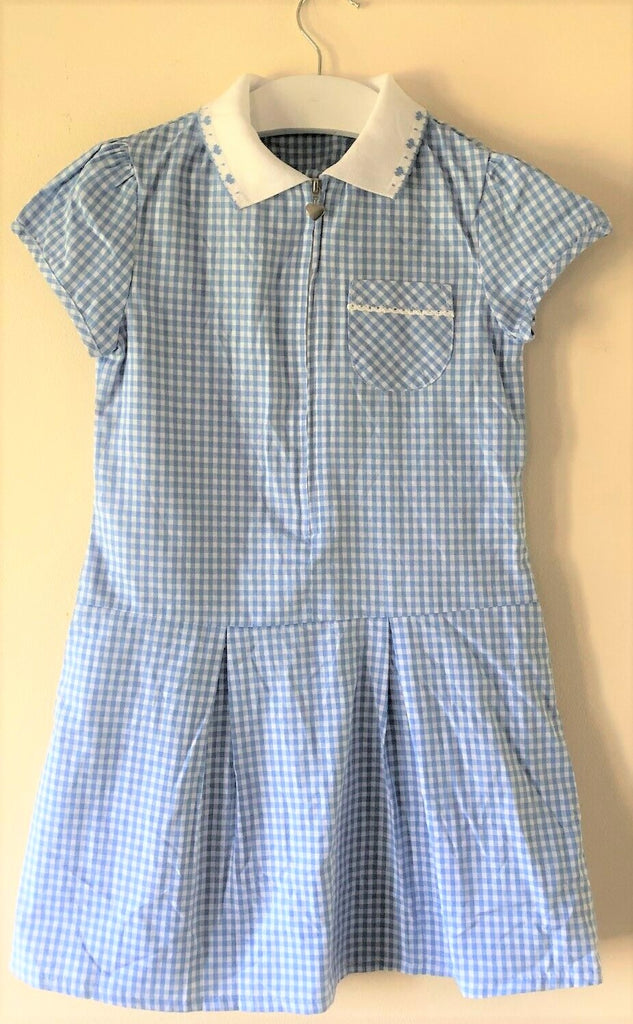 New Girls Gingham Check Summer School Dress - Exstore Debenhams - Blue Age 6 & 7 Years