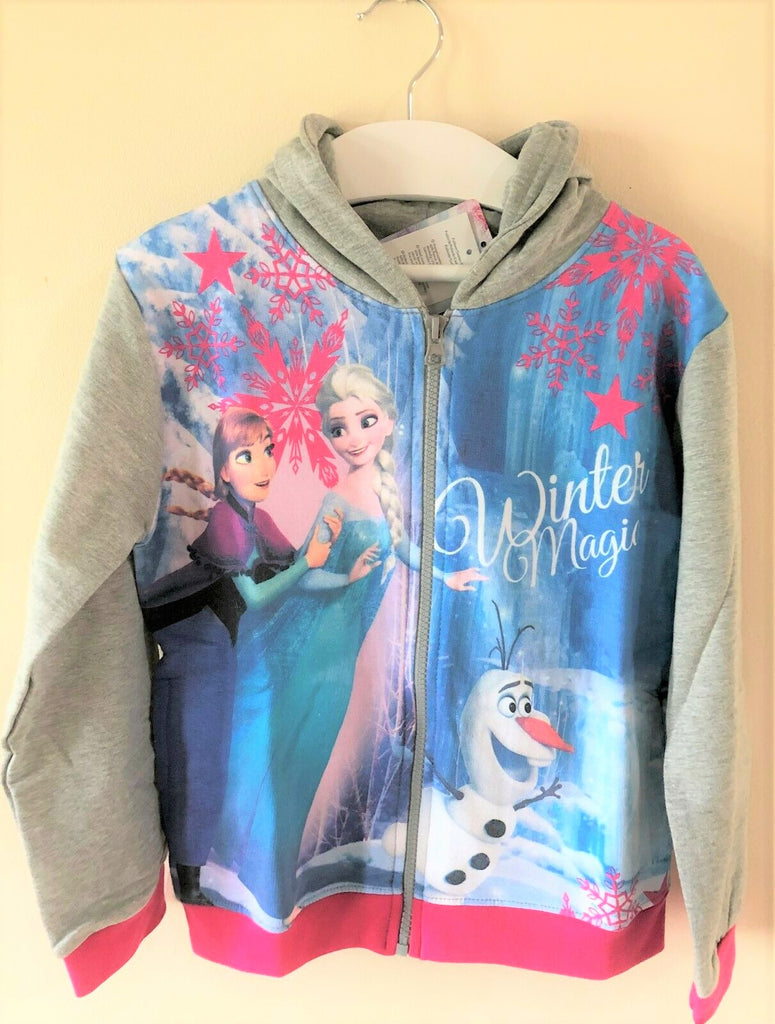 New Girls Frozen Zip Through Hoodie - Official Disney Frozen - Sizes 5-6 Years