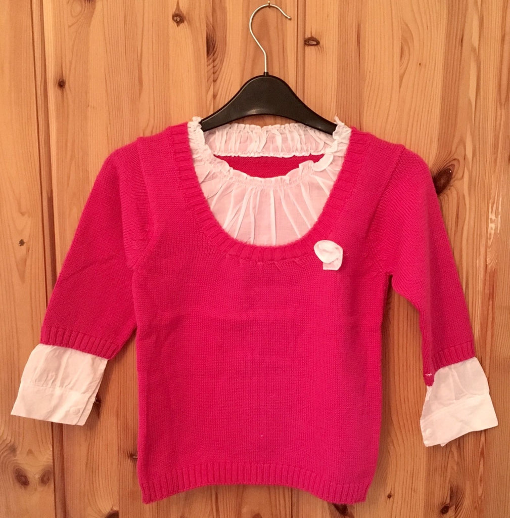 Layered Ruffle Jumper - Girls New Unique - Hot Pink - Age 5-6 Years