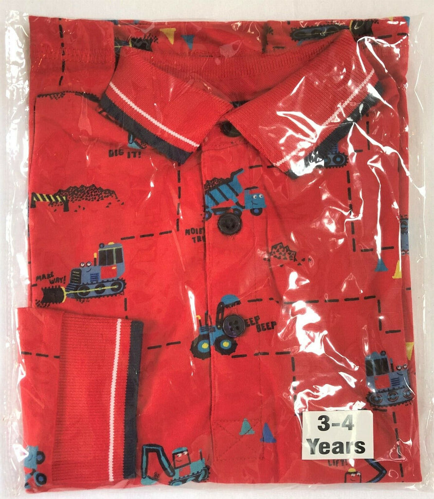 "New Boys Designer Red L/S Polo Top Diggers and Trucks - Exstore ""Blue Zoo"" - 2-5 Yrs"