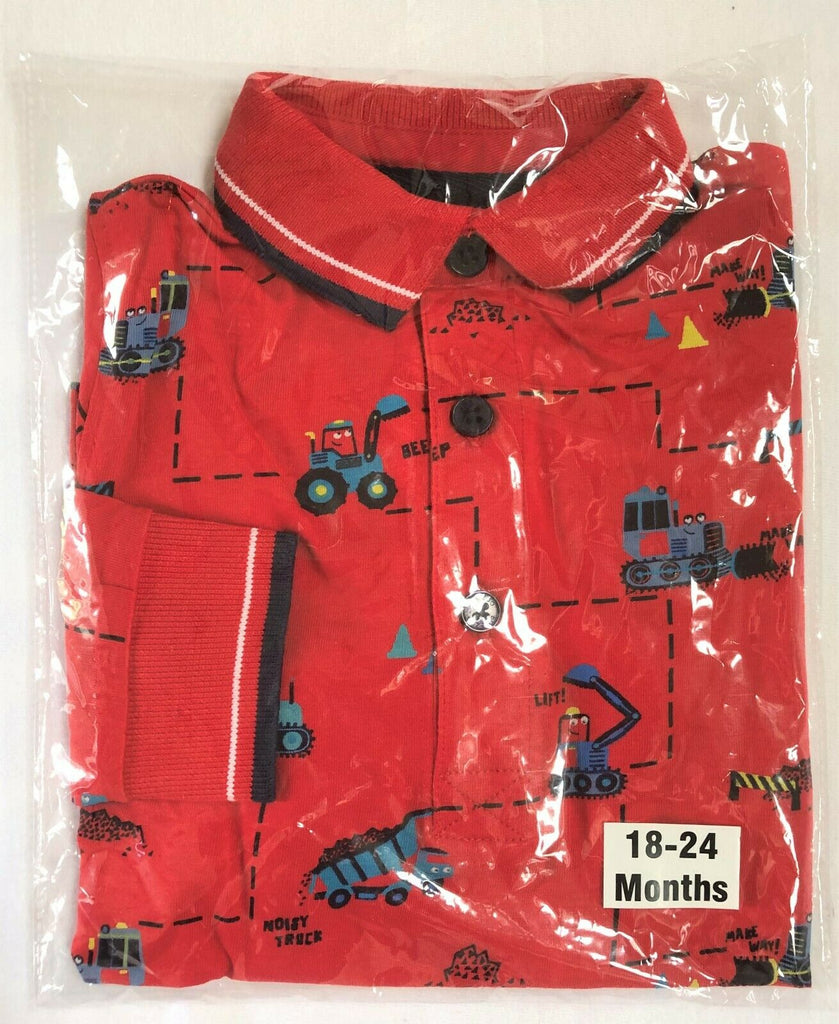 "New Boys Designer Red L/S Polo Top Diggers and Trucks - Exstore ""Blue Zoo - 12-24M"