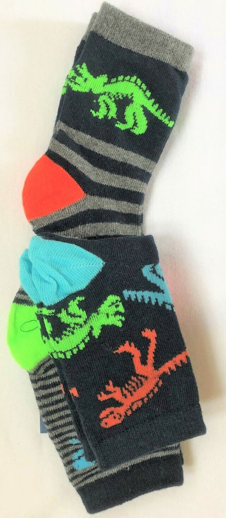 New Boys 3 Pack Vibrant Dinosaur Socks -  Exstore - Size 9-12