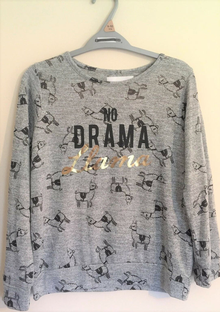 New Girls Llama L/S Top No Drama - Exstore Morrisons Nutmeg - Ages 7-8 Years