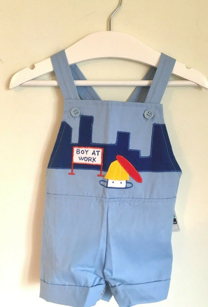 New Baby Boys Pale Blue Dungaree Shorts Embroidered - Exstore - Age 6/12 Months