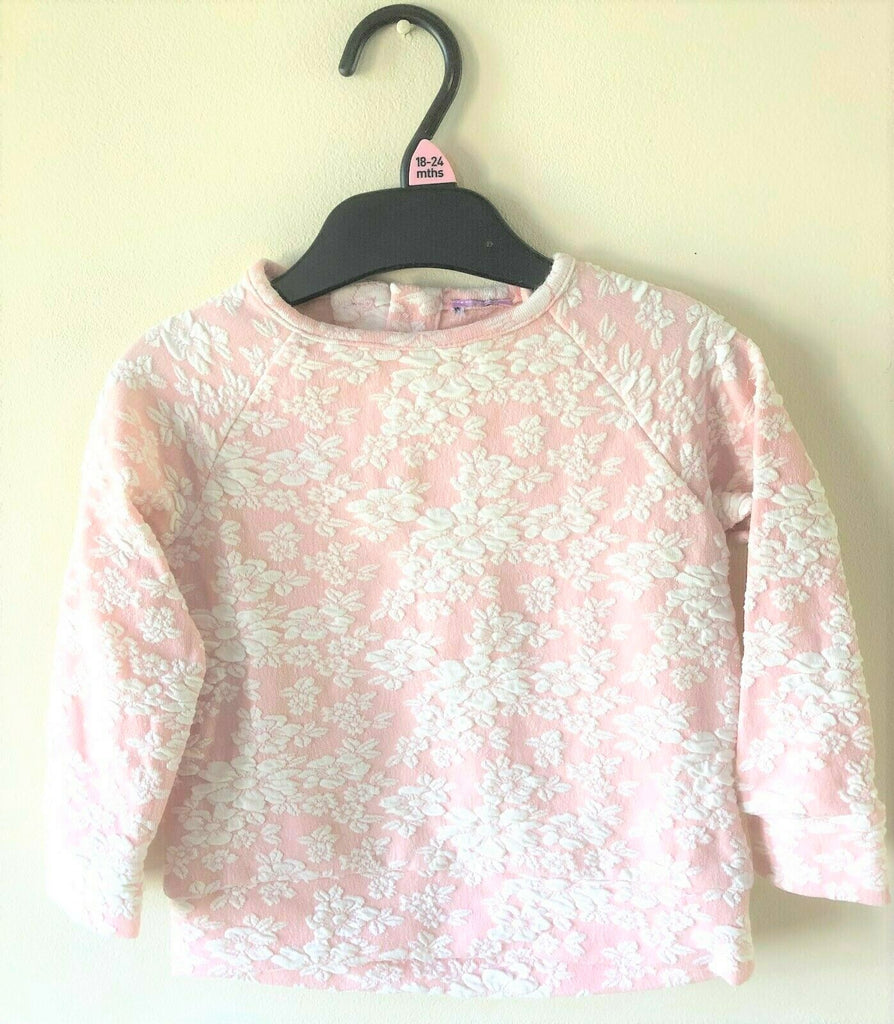 New Girls Sweat Top - Exstore - Floral Embossed Pink and White Ages 12-24 Months