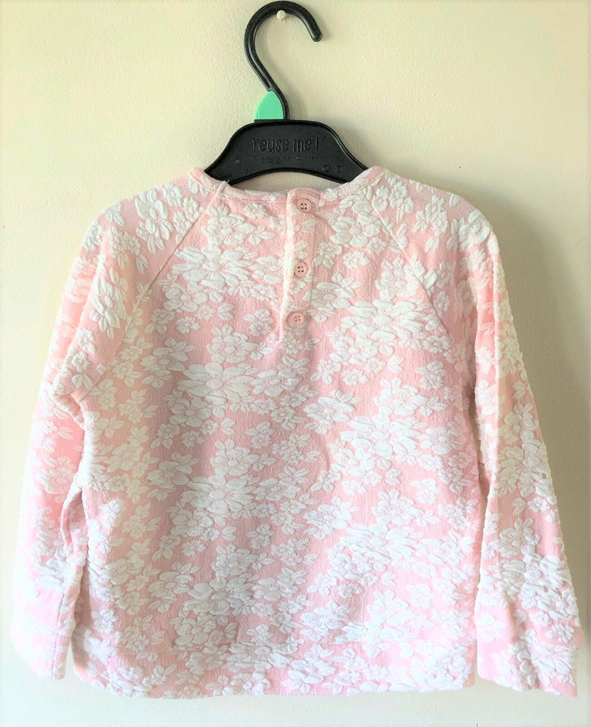 New Girls Sweat Top - Exstore - Floral Embossed Pink and White Ages 3-4 Years
