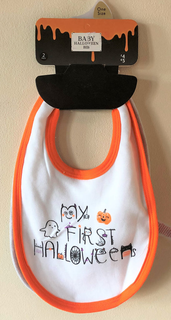New Baby Girl Boy My First Halloween Bib 2 Pack - Exstore F&F - One Size