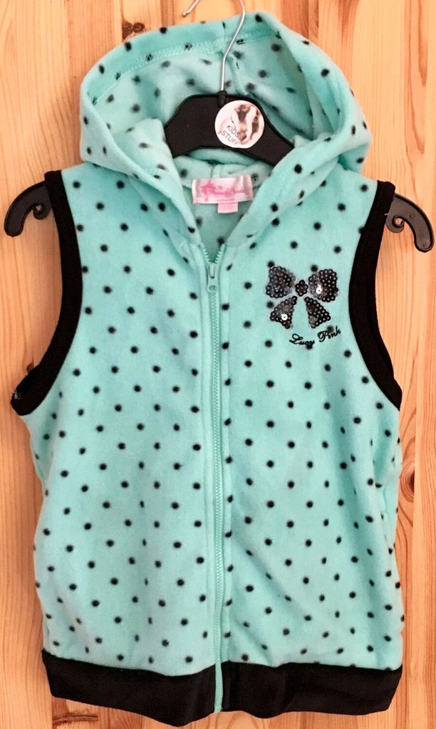 New Soft Hooded Fleece Mini Gilet Mint Green - Bow - Exstore French Soda - Sizes 6-7 & 8-9 Years