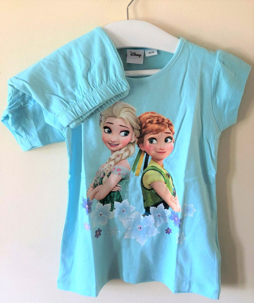 New Disney Frozen Princess Blue Shorts Pyjamas - Official Exstore - Ages 3-4, 5-6, 7-8, 9-10 Yr