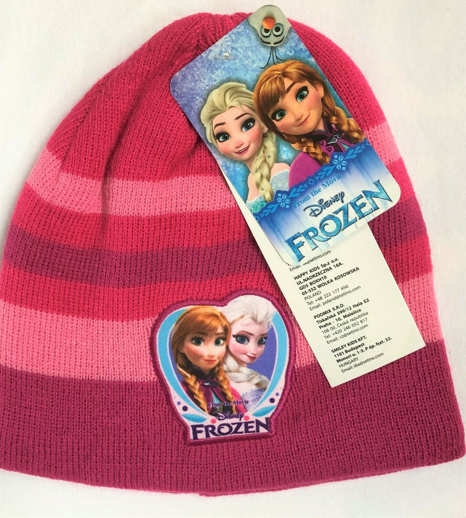 New Frozen Girls Knitted Beanie Winter Hat Dark Pink - Official Disney - 2-8Y