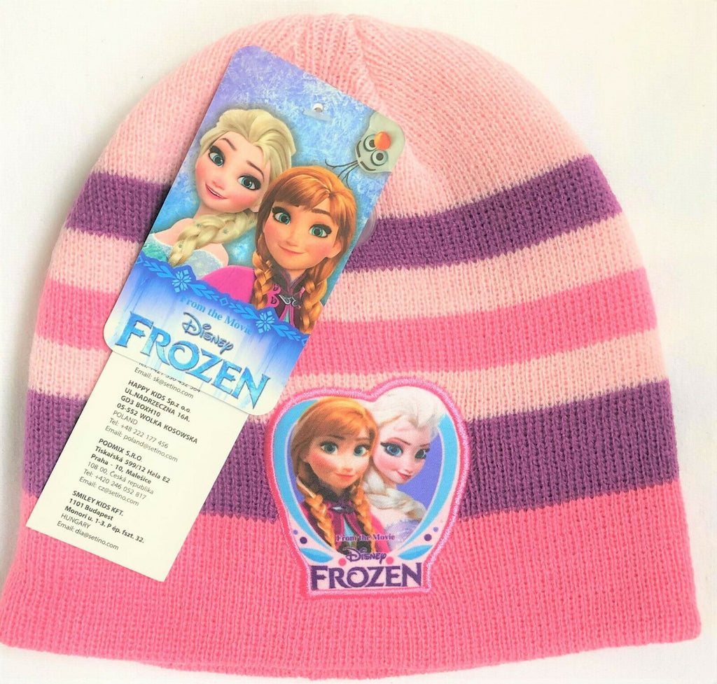 New Frozen Girls Knitted Beanie Winter Hat Light Pink - Official Disney - 2-8Y