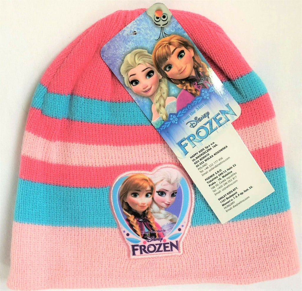 New Frozen Girls Knitted Beanie Winter Hat Turquoise- Official Disney - 2-8Y
