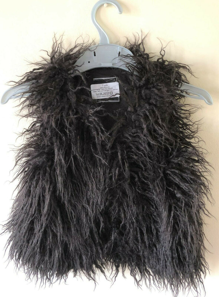 New Next Girls Black Shaggy Faux Fur Waistcoat Boho Style - Exstore Next - Ages 3-8 Years