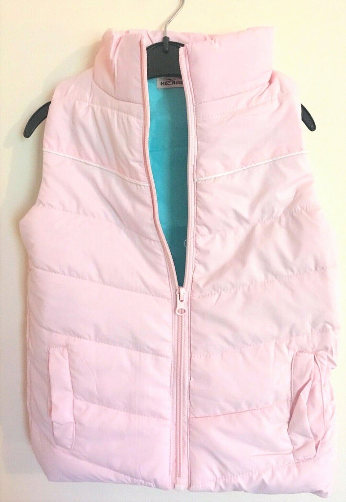 New Girls Puffa Style Gilet Bodywarmer - Baby Pink & Turquoise - Exstore - Age 4/5 Yr