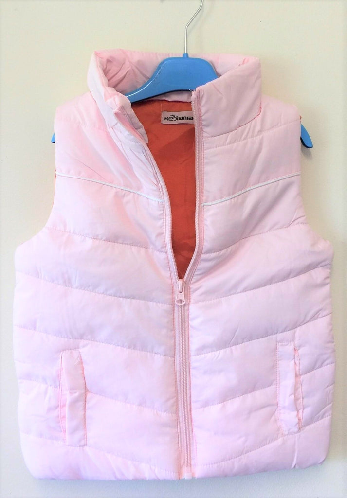 New Girls Puffa Style Bodywarmer - Dark Orange and Pink - Exstore Age 4/5 Yrs