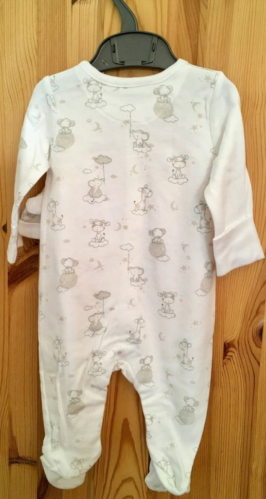 New Baby Neutral 2 Pc Babygrow & Hat Set Giraffe White - Exstore Mothercare - Age Up to 1 Month
