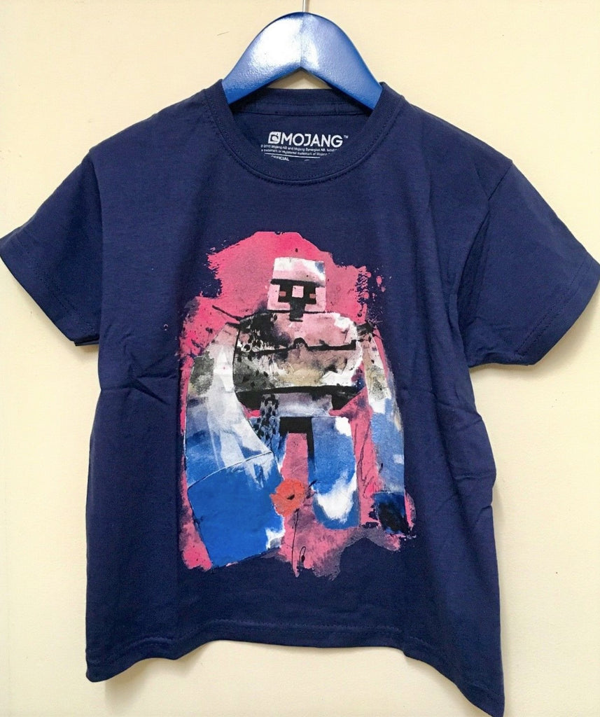 New Official Jinx Minecraft Golem Boys Navy Blue Tshirt Bagged Age 7-8 Years