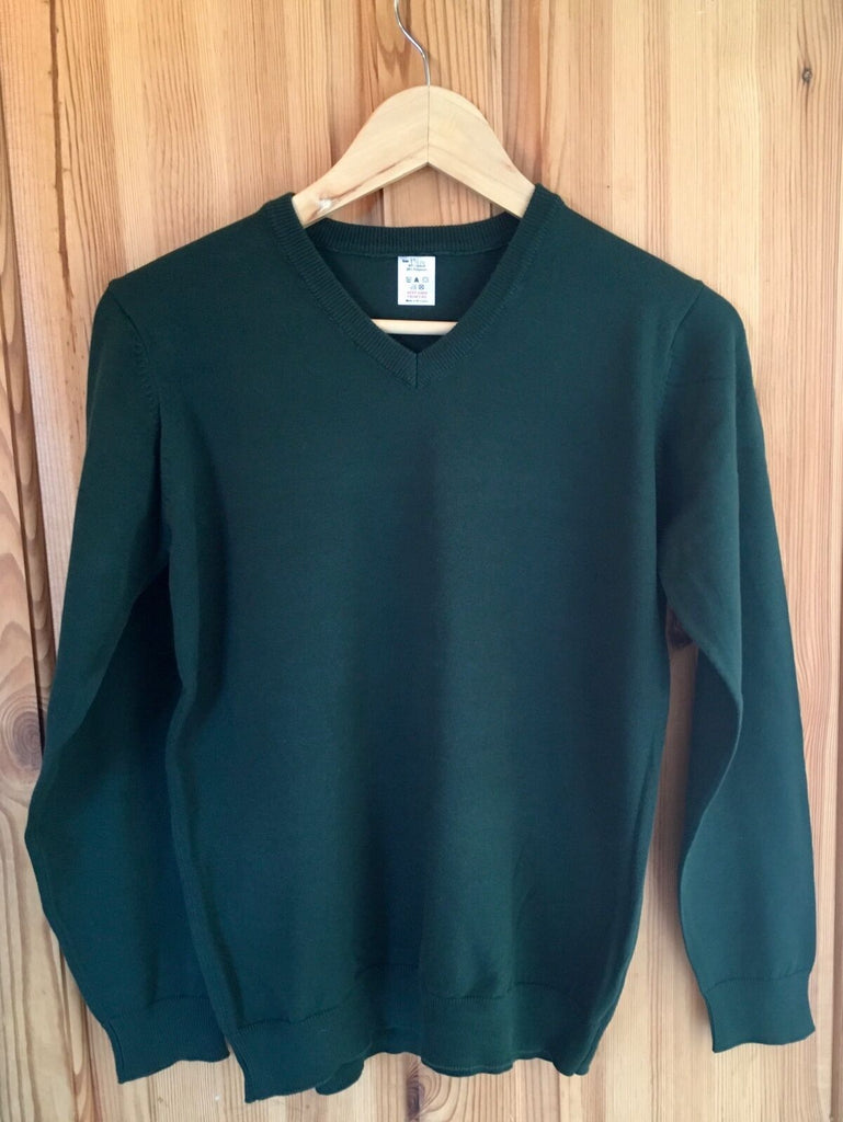 New Boys Girls Green School Jumper - New Exstore M&S - Size 13-14 Yrs