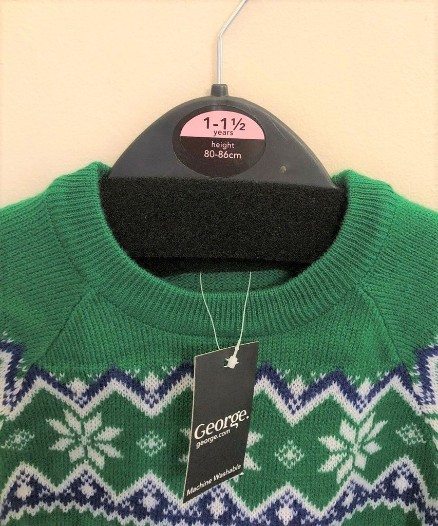 New Baby Boys Green Christmas Knit Jumper - Exstore George - London Guards - Age 12-18 M