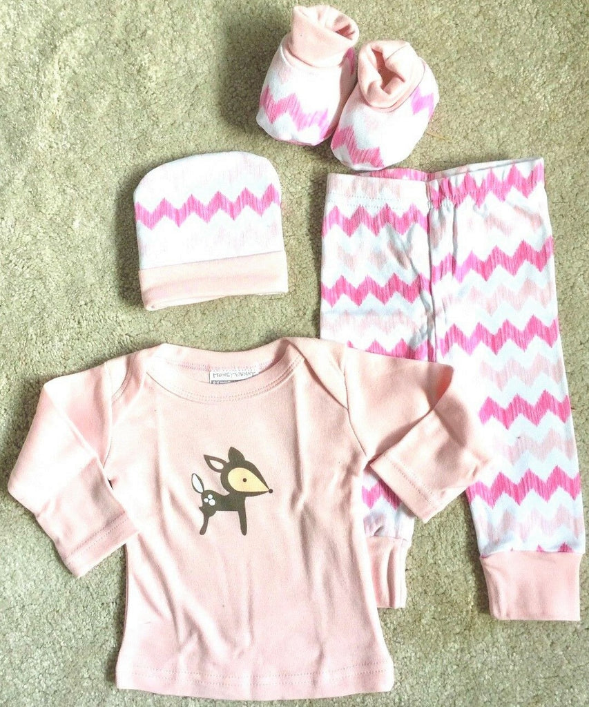 New Baby Girl 4 Pc Gift Set Outfit - Vest/Pants Hat/Booties - Exstore Honey Bunny 0-6M