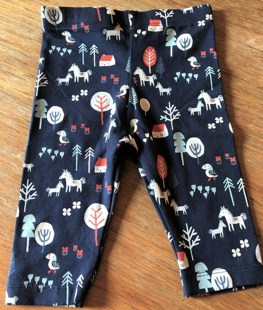 New Baby Girls Leggings Horses - Exstore - 100% Cotton - Orange Blue - Ages 0-18 Months