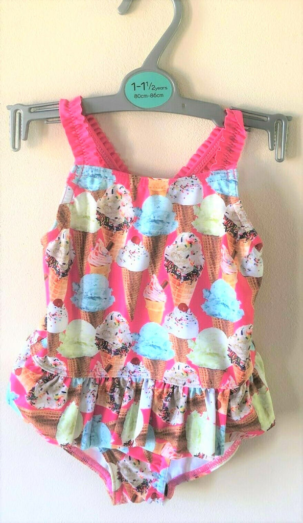 New Girls Frilled Icecream Swimming Costume Swimsuit -Exstore Nutmeg - Ages 12 Months - 6 Years