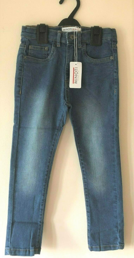 New Boys Stonewash Blue Skinny Jeans 100% Cotton - Exstore Minoti - 3-8 Yrs
