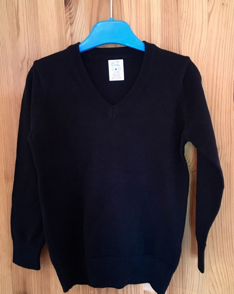 New Boys/Girls Black School Jumper Cotton Blend - Exstore M&S - Ages 3-4Y