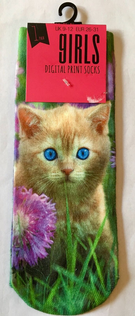 New Girls Digital Print Silky Feel Socks - Blue Eyed Kitten - Shoe Size 9-12
