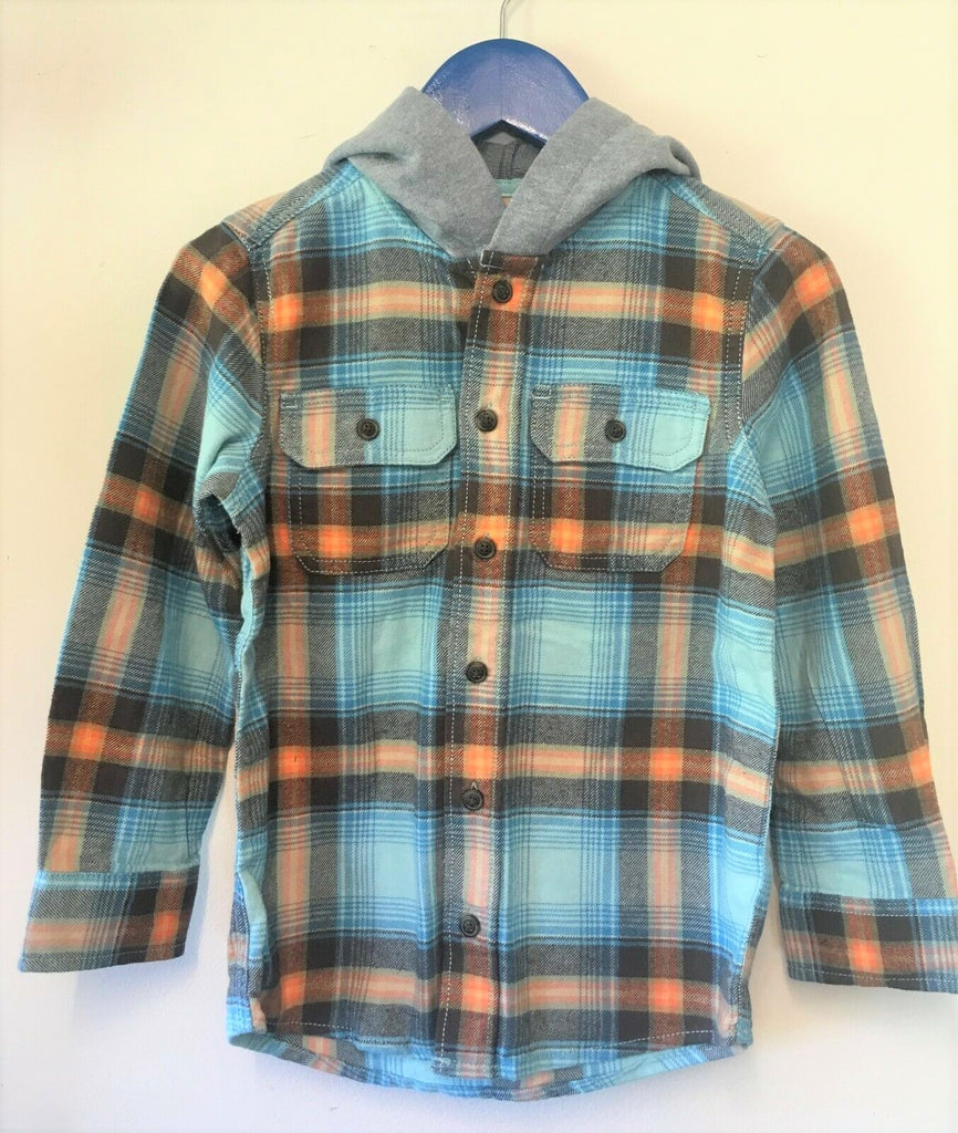 New Boys Hooded Checked Shirt - Exstore OshKosh BGosh - 100% Cotton - Ages 5 Yrs