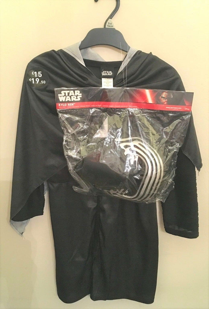New Boys Star Wars Kylo Ren Fancy Dress Costume Mask - Exstore Tesco - Age 5-6 Years