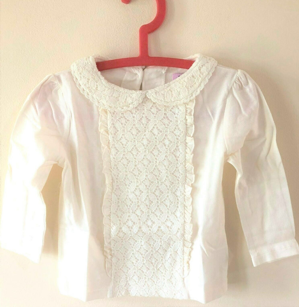 New Girls Cream Lace Collar Long Sleeved Top -  Exstore F&F Tesco - 100% Cotton - Age 12-18 M