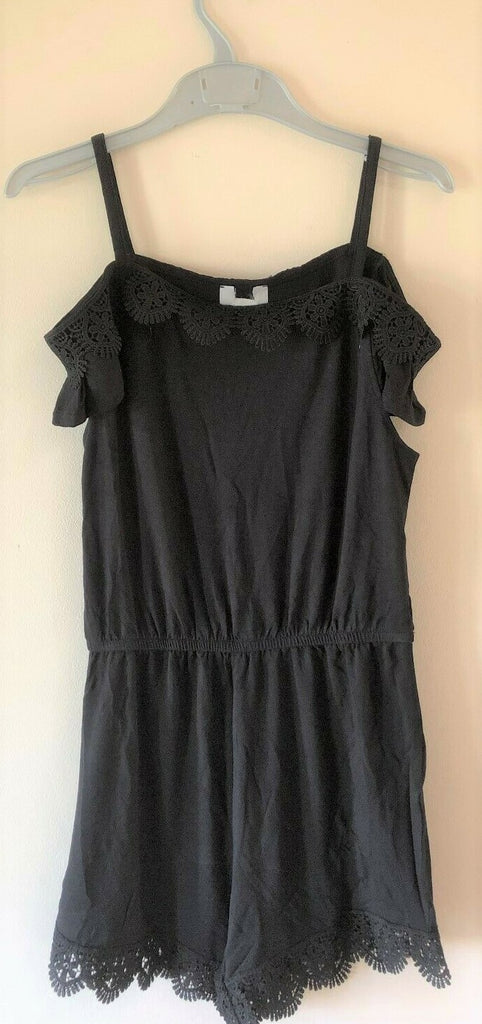 New Girls Black Lace Trim Playsuit - Exstore River Island - Age 5-8Y
